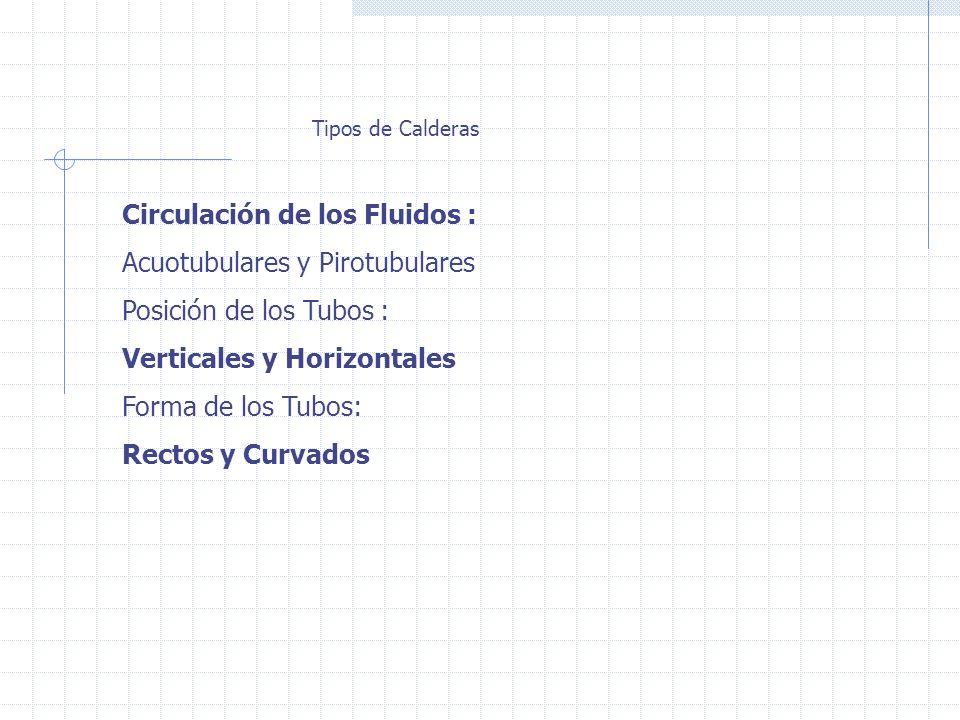 Tipos de Calderas Circulación de los Fluidos : Acuotubulares y Pirotubulares Posición de los Tubos : Verticales y Horizontales Forma de los Tubos: Rectos y Curvados