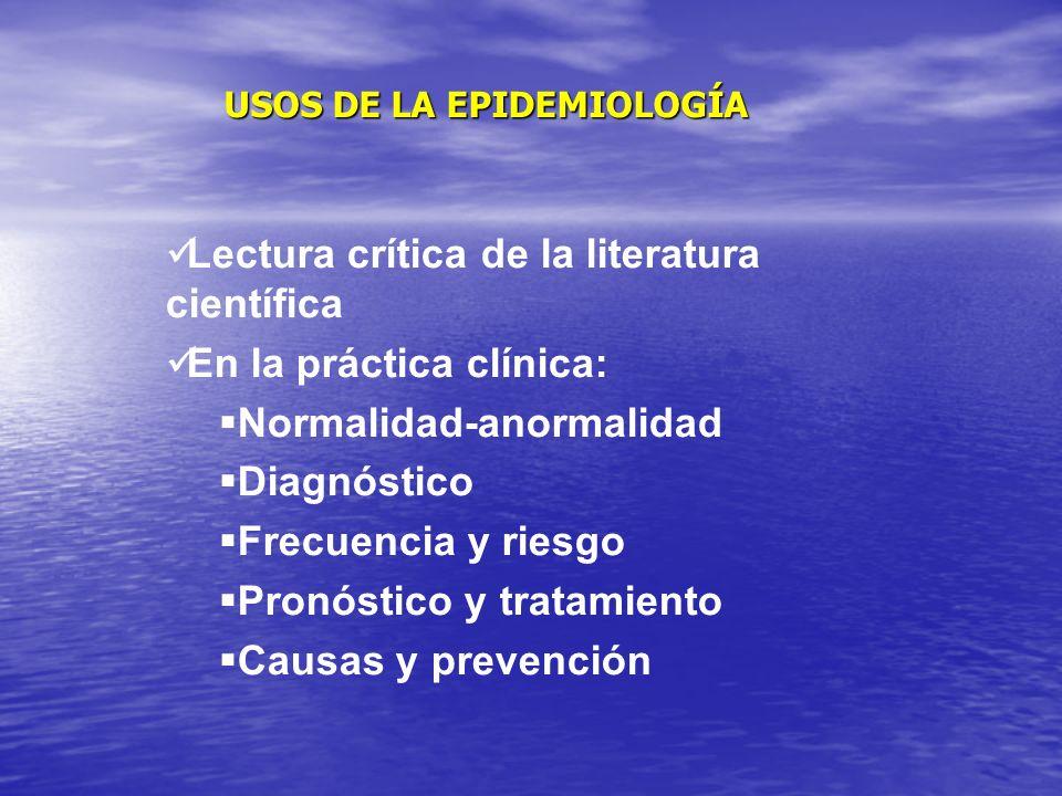 USOS DE LA EPIDEMIOLOGÍA Lectura crítica de la literatura científica En la práctica clínica: Normalidad-anormalidad Diagnóstico Frecuencia y riesgo Pronóstico y tratamiento Causas y prevención