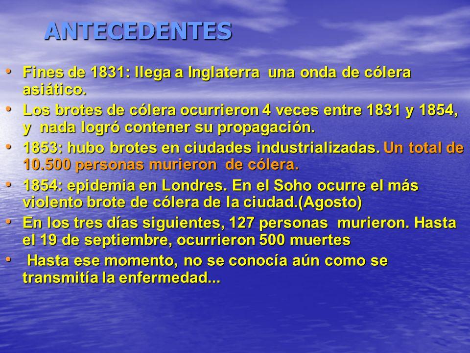 ANTECEDENTES Fines de 1831: llega a Inglaterra una onda de cólera asiático.