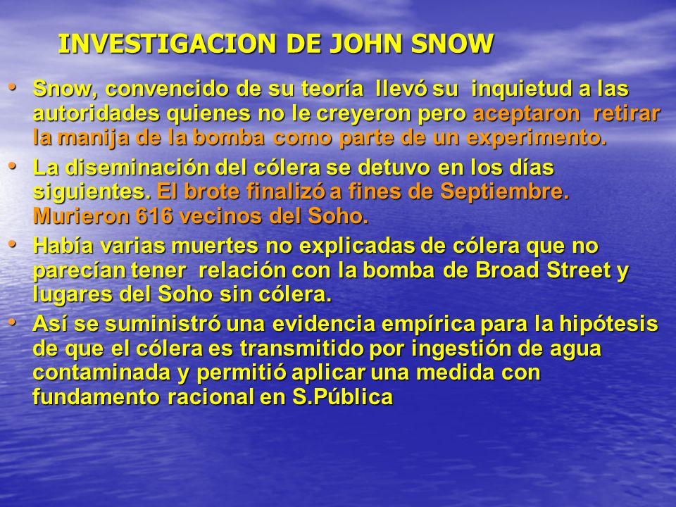 INVESTIGACION DE JOHN SNOW Snow, convencido de su teoría llevó su inquietud a las autoridades quienes no le creyeron pero aceptaron retirar la manija de la bomba como parte de un experimento.