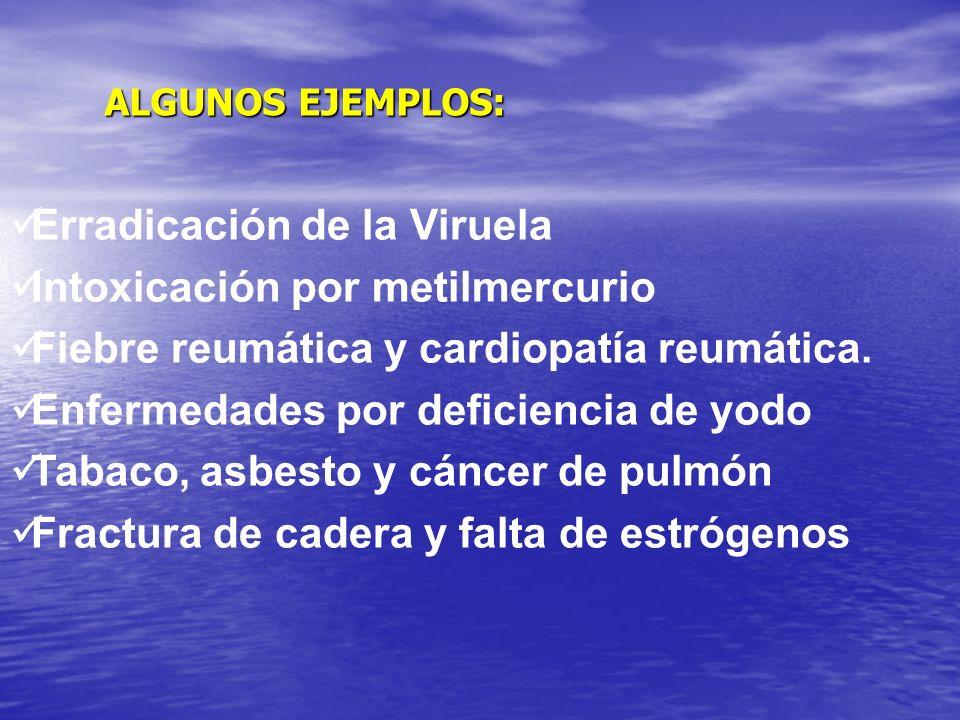 ALGUNOS EJEMPLOS: Erradicación de la Viruela Intoxicación por metilmercurio Fiebre reumática y cardiopatía reumática.