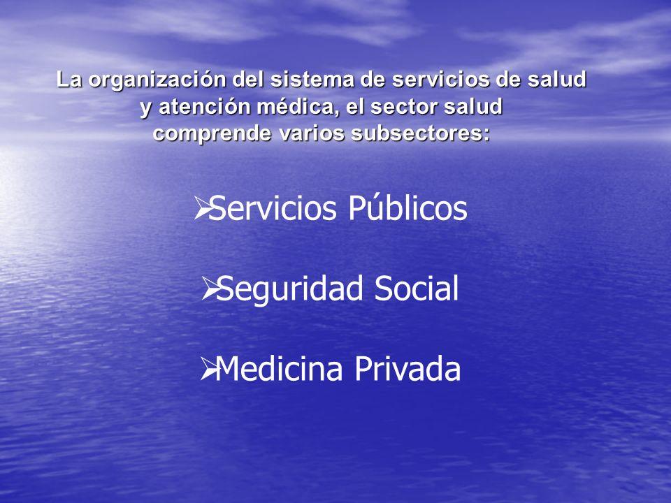 La organización del sistema de servicios de salud y atención médica, el sector salud comprende varios subsectores: Servicios Públicos Seguridad Social Medicina Privada