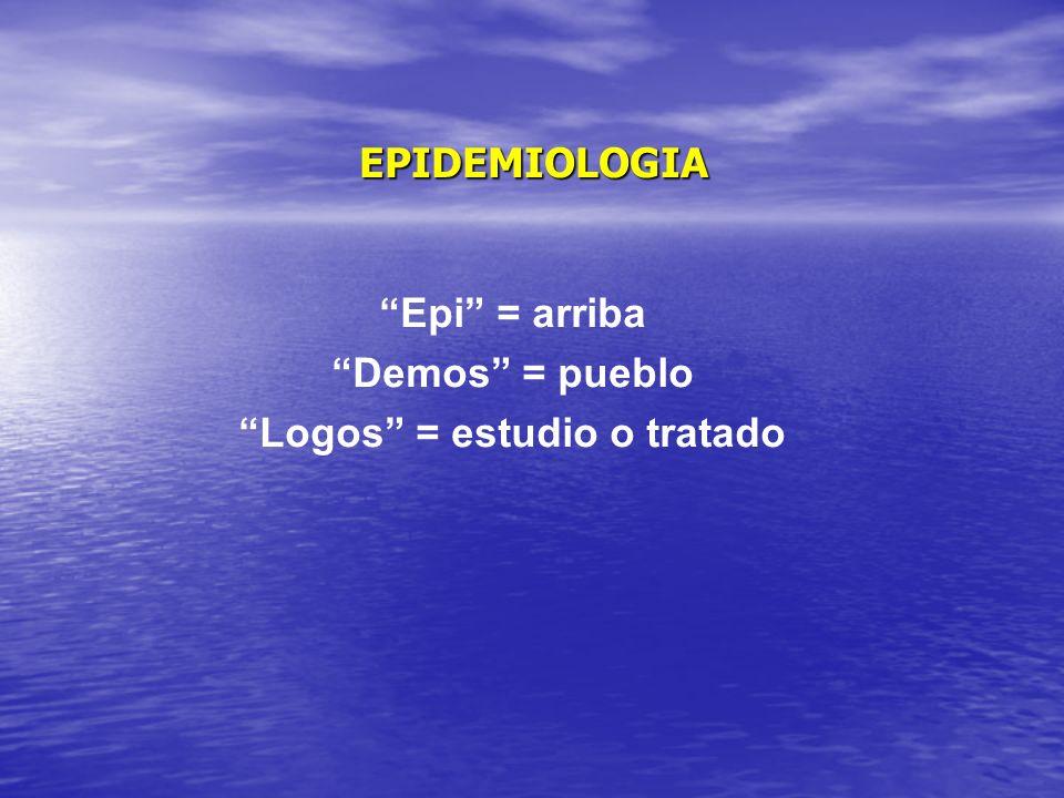 EPIDEMIOLOGIA Epi = arriba Demos = pueblo Logos = estudio o tratado