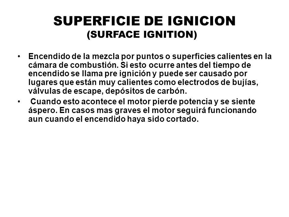 SUPERFICIE DE IGNICION (SURFACE IGNITION) Encendido de la mezcla por puntos o superficies calientes en la cámara de combustión. Si esto ocurre antes d
