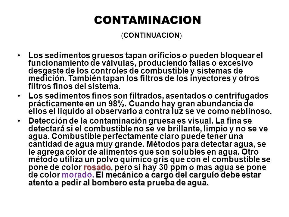 CONTAMINACION (CONTINUACION) Los sedimentos gruesos tapan orificios o pueden bloquear el funcionamiento de válvulas, produciendo fallas o excesivo des