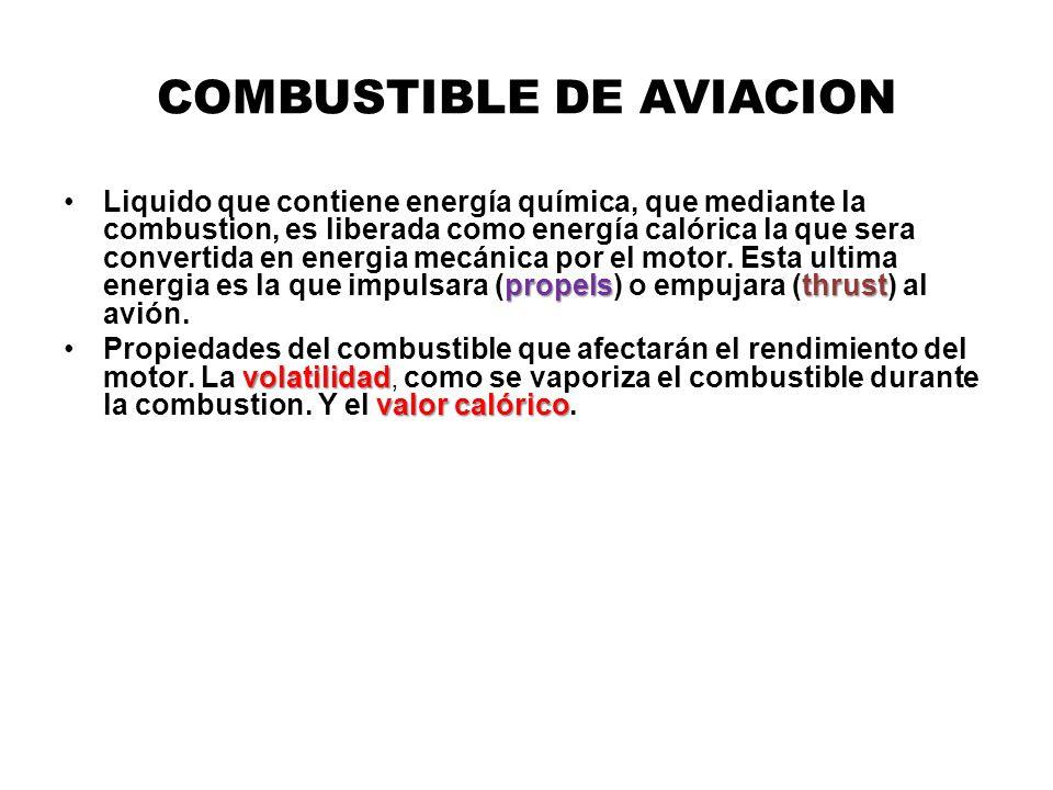 COMBUSTIBLE DE AVIACION propelsthrustLiquido que contiene energía química, que mediante la combustion, es liberada como energía calórica la que sera c