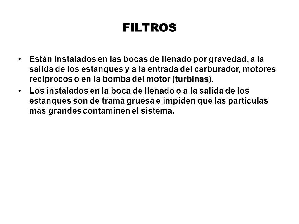FILTROS turbinasEstán instalados en las bocas de llenado por gravedad, a la salida de los estanques y a la entrada del carburador, motores recíprocos