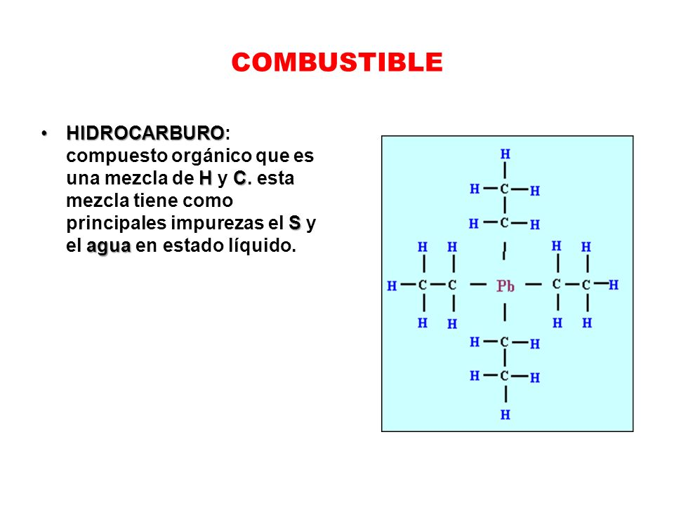 COMBUSTIBLE HIDROCARBURO H C S aguaHIDROCARBURO: compuesto orgánico que es una mezcla de H y C. esta mezcla tiene como principales impurezas el S y el