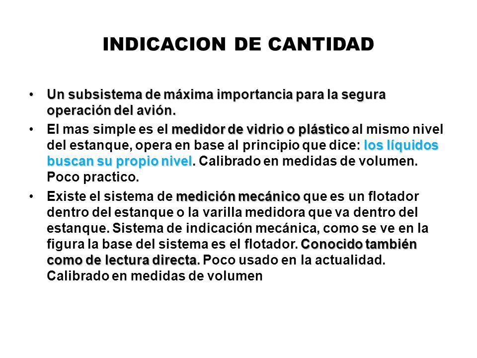 INDICACION DE CANTIDAD Un subsistema de máxima importancia para la segura operación del avión.Un subsistema de máxima importancia para la segura opera