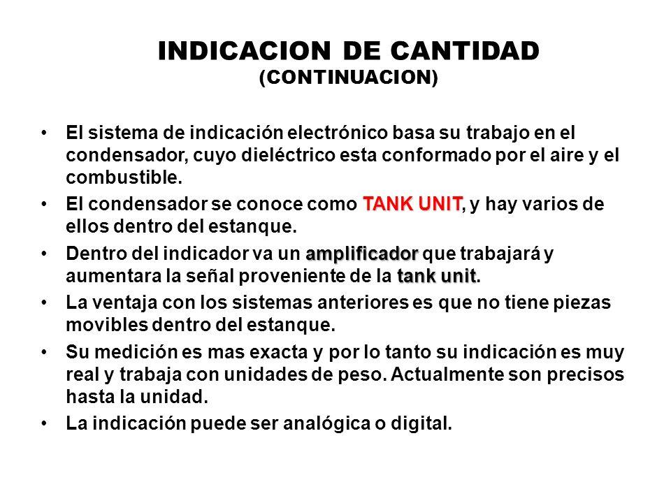 INDICACION DE CANTIDAD (CONTINUACION) El sistema de indicación electrónico basa su trabajo en el condensador, cuyo dieléctrico esta conformado por el