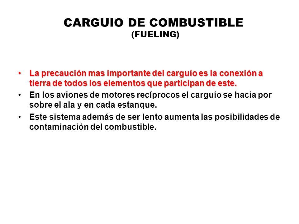 CARGUIO DE COMBUSTIBLE (FUELING) La precaución mas importante del carguío es la conexión a tierra de todos los elementos que participan de este.La pre