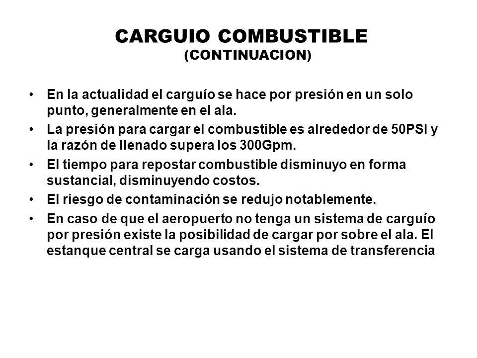 CARGUIO COMBUSTIBLE (CONTINUACION) En la actualidad el carguío se hace por presión en un solo punto, generalmente en el ala. La presión para cargar el