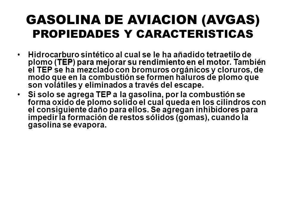 GASOLINA DE AVIACION (AVGAS) PROPIEDADES Y CARACTERISTICAS TEPpara mejorar su rendimiento en el motorHidrocarburo sintético al cual se le ha añadido t