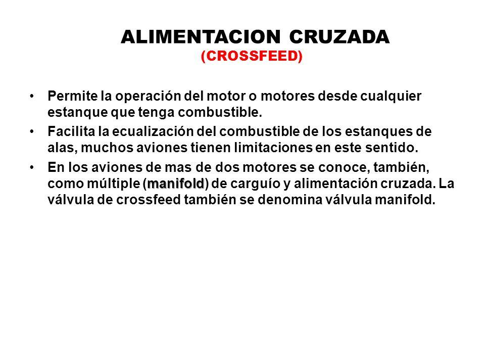 ALIMENTACION CRUZADA (CROSSFEED) Permite la operación del motor o motores desde cualquier estanque que tenga combustible. Facilita la ecualización del