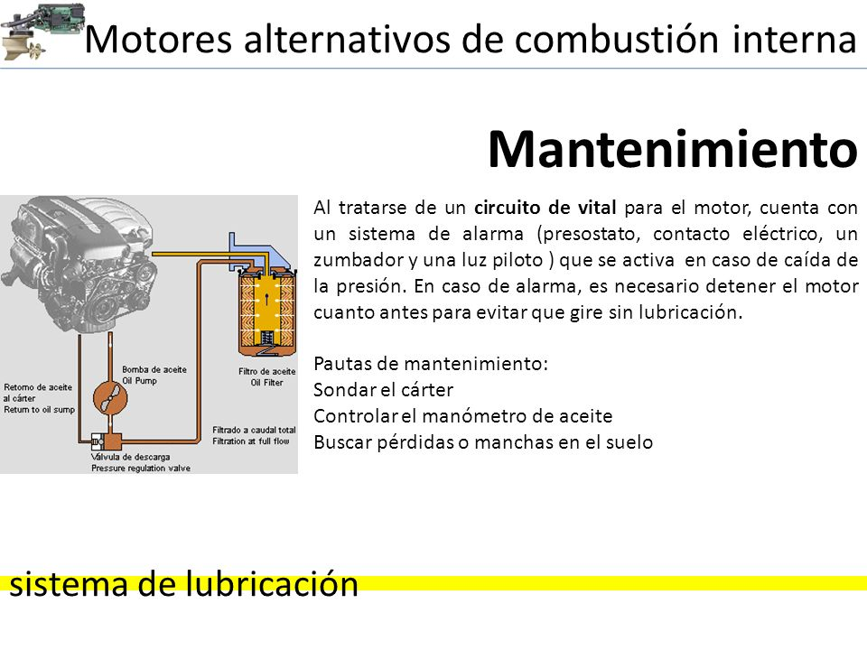 Motores alternativos de combustión interna sistema de lubricación Mantenimiento Al tratarse de un circuito de vital para el motor, cuenta con un siste