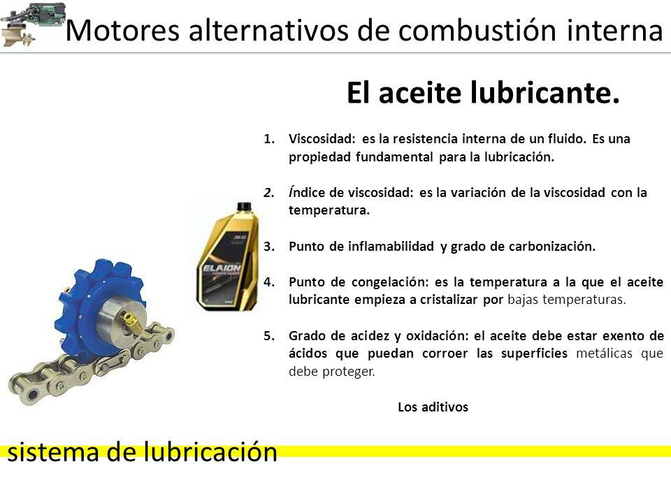 Motores alternativos de combustión interna sistema de lubricación El aceite lubricante. 1.Viscosidad: es la resistencia interna de un fluido. Es una p