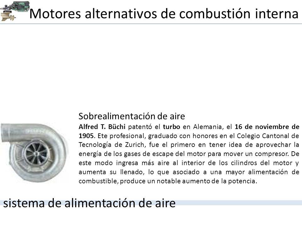 Motores alternativos de combustión interna sistema de alimentación de aire Sobrealimentación de aire Alfred T. Büchi patentó el turbo en Alemania, el