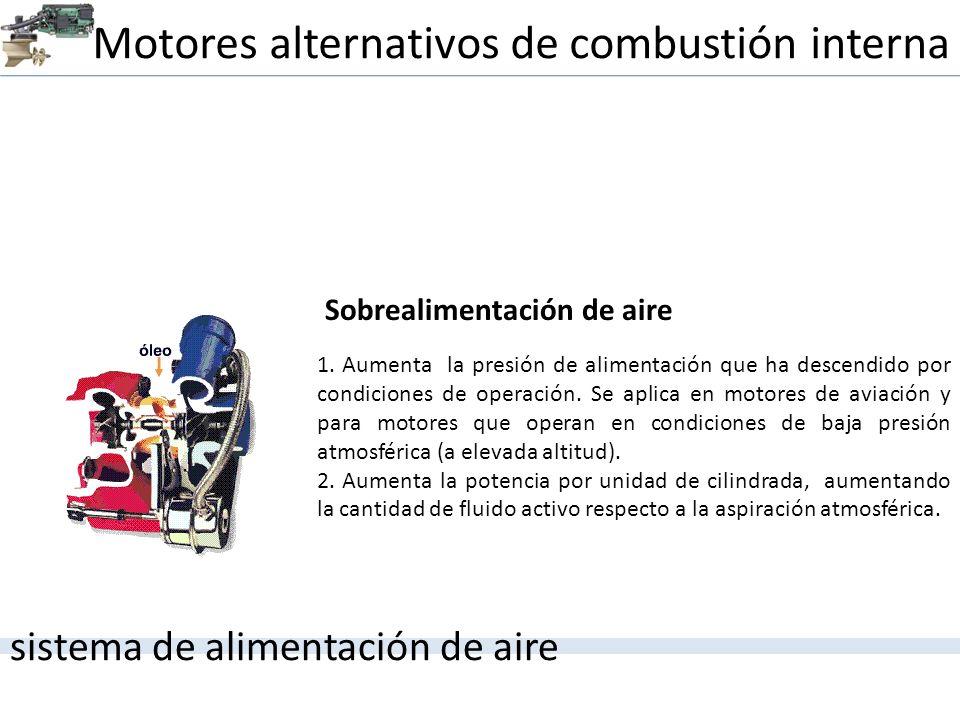 Motores alternativos de combustión interna sistema de alimentación de aire 1. Aumenta la presión de alimentación que ha descendido por condiciones de