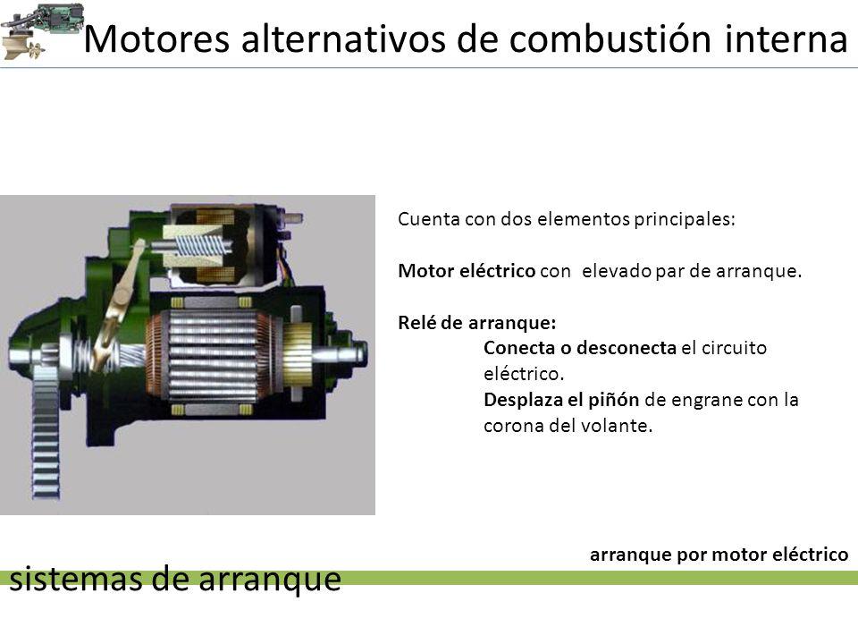 Motores alternativos de combustión interna sistemas de arranque arranque por motor eléctrico Cuenta con dos elementos principales: Motor eléctrico con