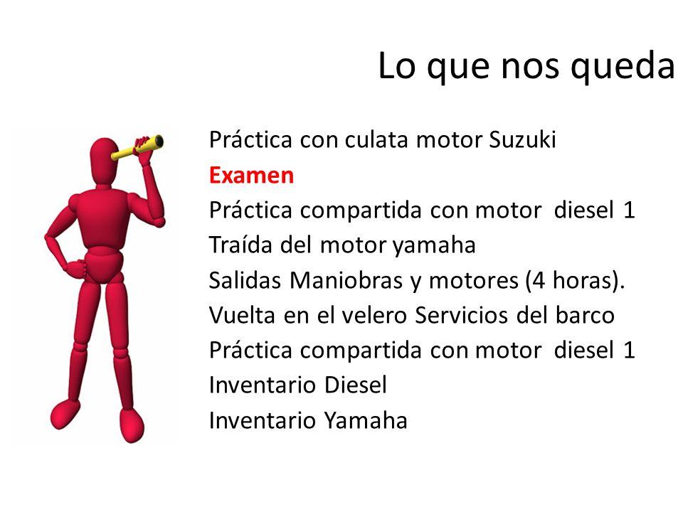 Lo que nos queda Práctica con culata motor Suzuki Examen Práctica compartida con motor diesel 1 Traída del motor yamaha Salidas Maniobras y motores (4
