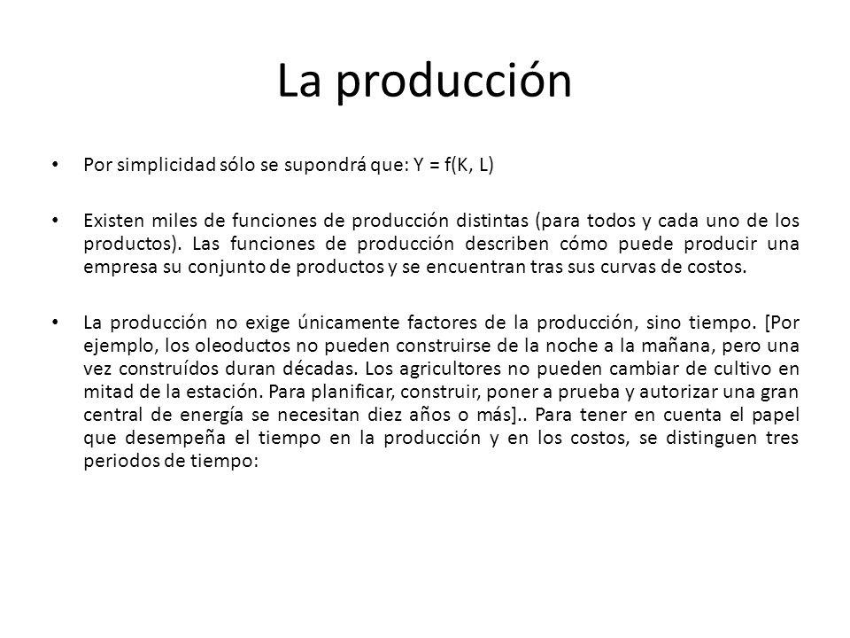 La producción Por simplicidad sólo se supondrá que: Y = f(K, L) Existen miles de funciones de producción distintas (para todos y cada uno de los produ