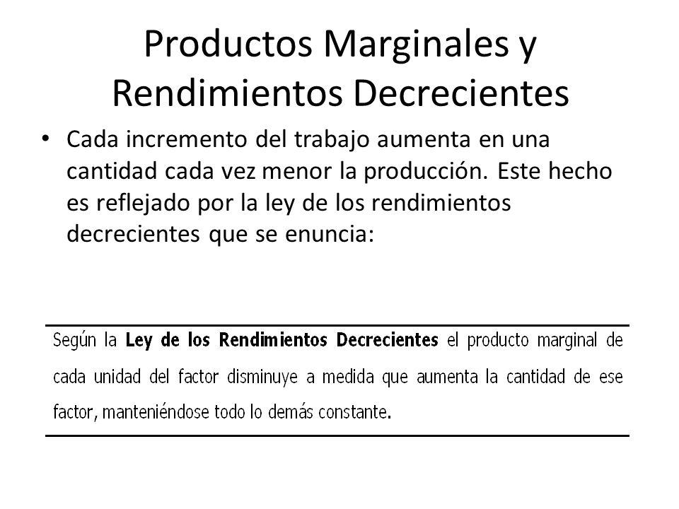 Productos Marginales y Rendimientos Decrecientes Cada incremento del trabajo aumenta en una cantidad cada vez menor la producción. Este hecho es refle