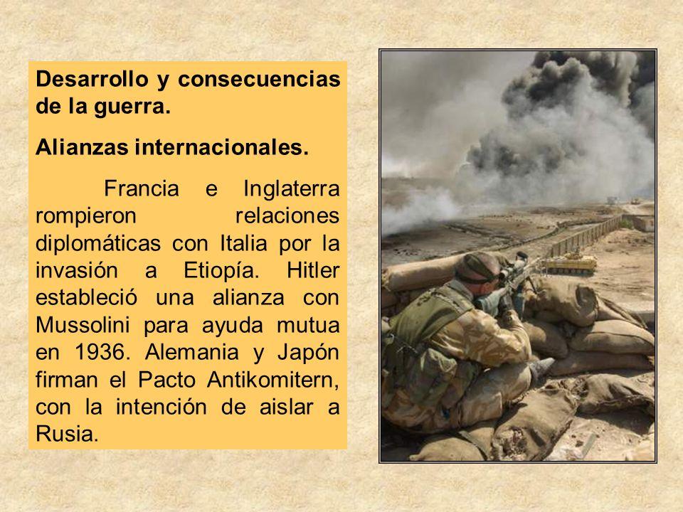 Desarrollo y consecuencias de la guerra. Alianzas internacionales. Francia e Inglaterra rompieron relaciones diplomáticas con Italia por la invasión a