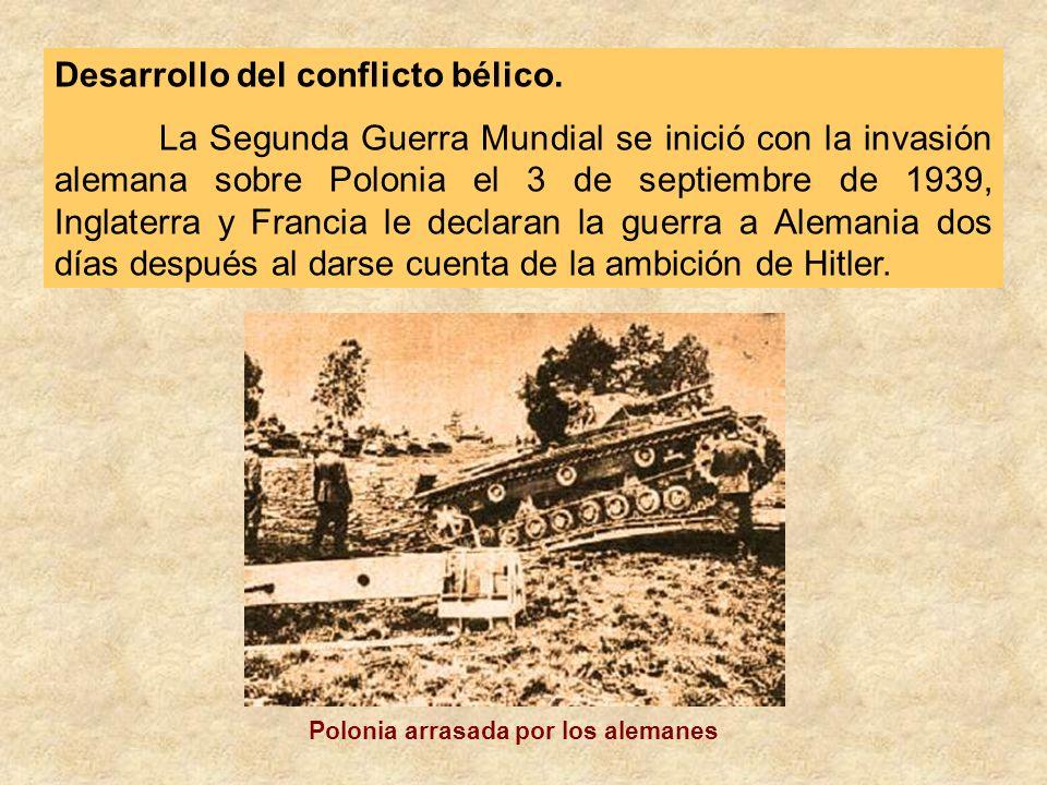 Desarrollo del conflicto bélico. La Segunda Guerra Mundial se inició con la invasión alemana sobre Polonia el 3 de septiembre de 1939, Inglaterra y Fr