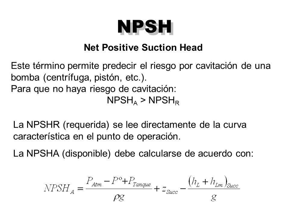 NPSH Net Positive Suction Head Este término permite predecir el riesgo por cavitación de una bomba (centrífuga, pistón, etc.).