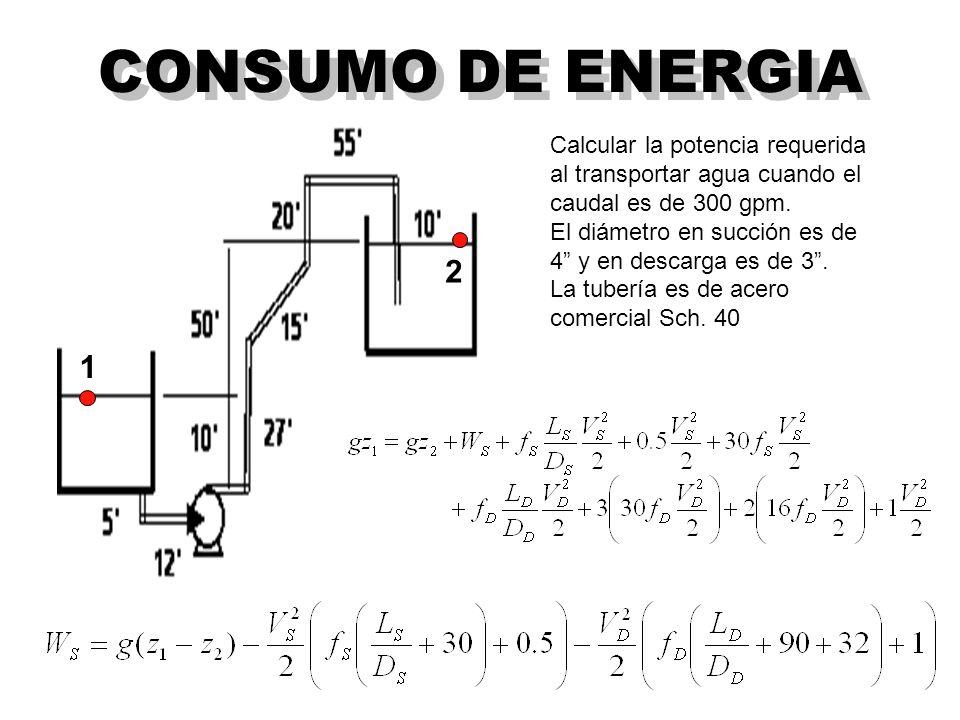 CONSUMO DE ENERGIA Calcular la potencia requerida al transportar agua cuando el caudal es de 300 gpm.