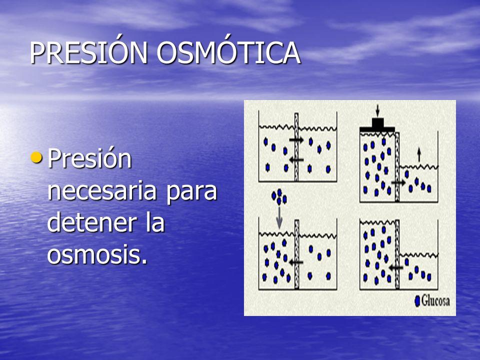 PRESIÓN OSMÓTICA Presión necesaria para detener la osmosis.