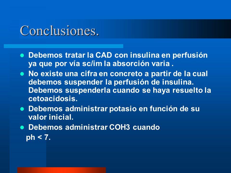 Conclusiones. Debemos tratar la CAD con insulina en perfusión ya que por vía sc/im la absorción varia. No existe una cifra en concreto a partir de la