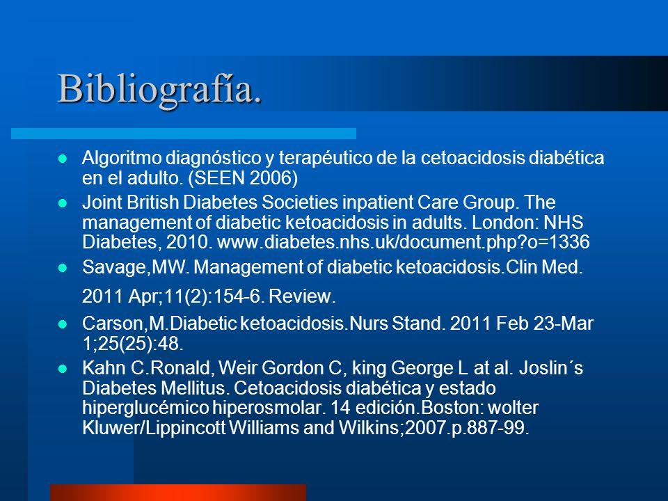 Bibliografía. Algoritmo diagnóstico y terapéutico de la cetoacidosis diabética en el adulto. (SEEN 2006) Joint British Diabetes Societies inpatient Ca