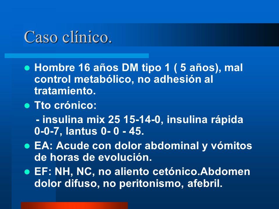 Caso clínico. Hombre 16 años DM tipo 1 ( 5 años), mal control metabólico, no adhesión al tratamiento. Tto crónico: - insulina mix 25 15-14-0, insulina