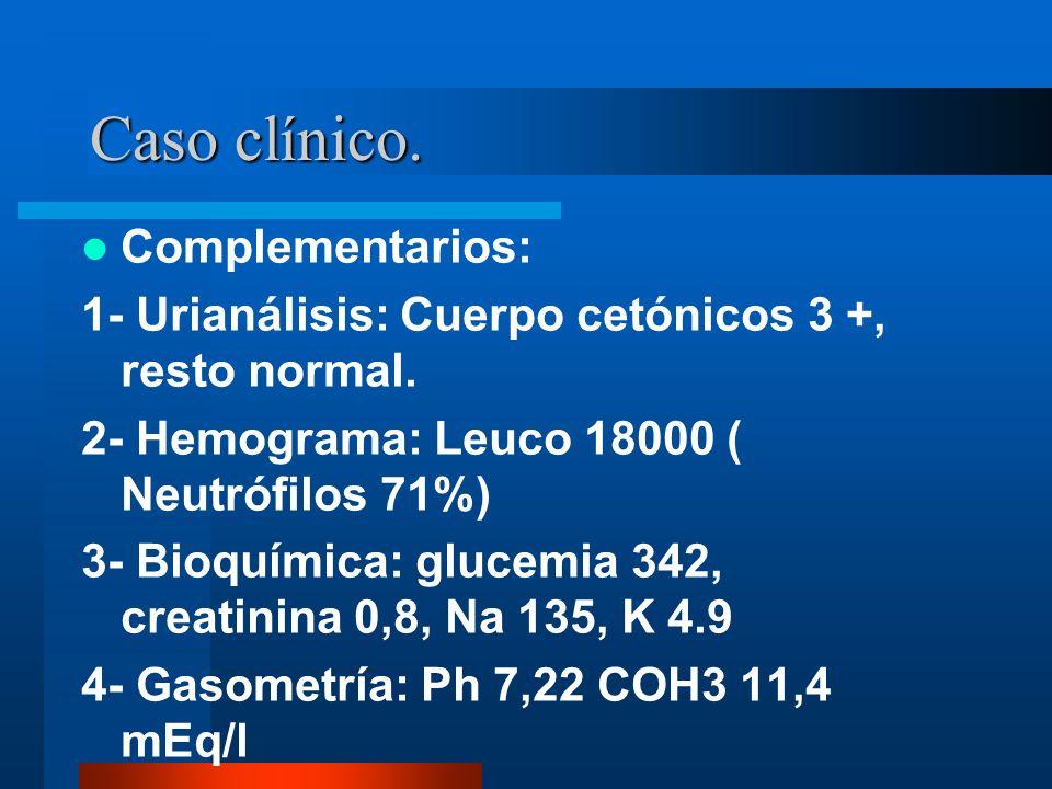 Caso clínico. Complementarios: 1- Urianálisis: Cuerpo cetónicos 3 +, resto normal. 2- Hemograma: Leuco 18000 ( Neutrófilos 71%) 3- Bioquímica: glucemi