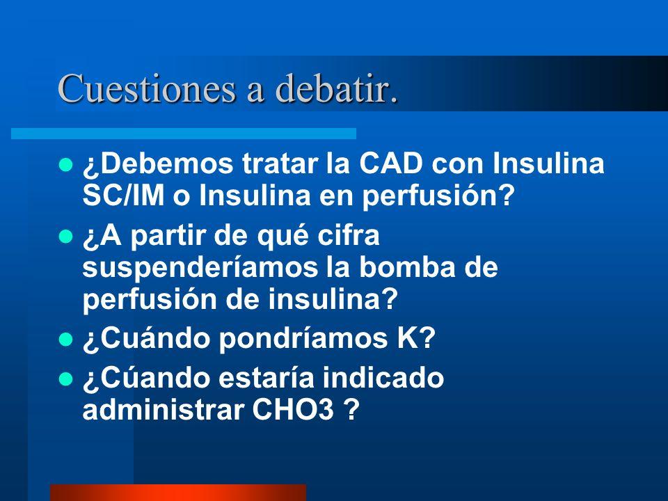 Cuestiones a debatir. ¿Debemos tratar la CAD con Insulina SC/IM o Insulina en perfusión? ¿A partir de qué cifra suspenderíamos la bomba de perfusión d