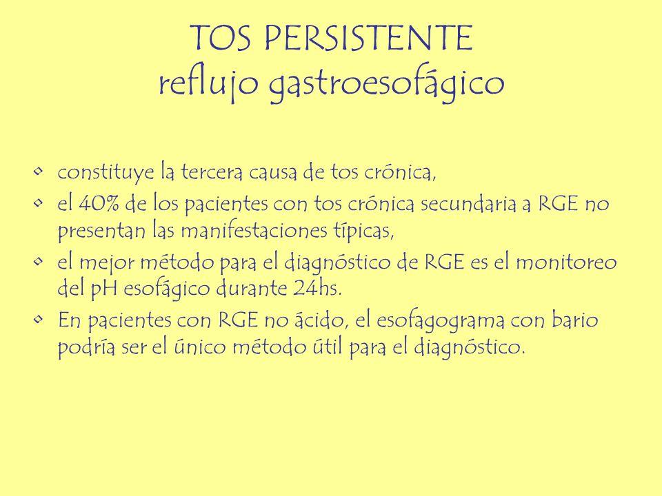 TOS PERSISTENTE reflujo gastroesofágico constituye la tercera causa de tos crónica, el 40% de los pacientes con tos crónica secundaria a RGE no presen