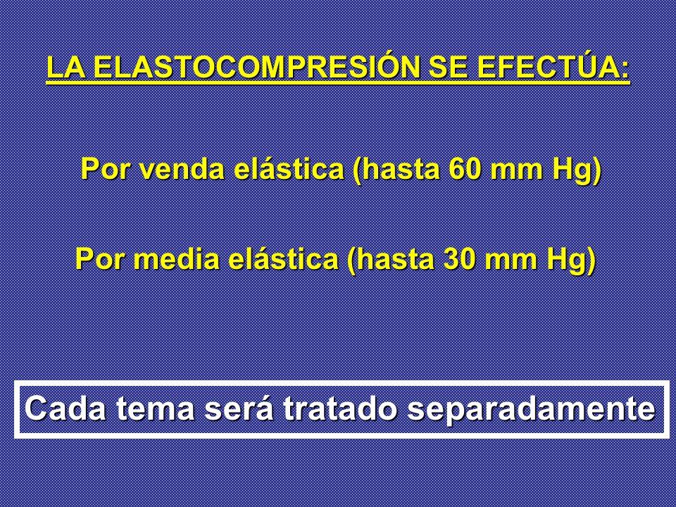 LA ELASTOCOMPRESIÓN SE EFECTÚA: Cada tema será tratado separadamente Por media elástica (hasta 30 mm Hg) Por venda elástica (hasta 60 mm Hg)
