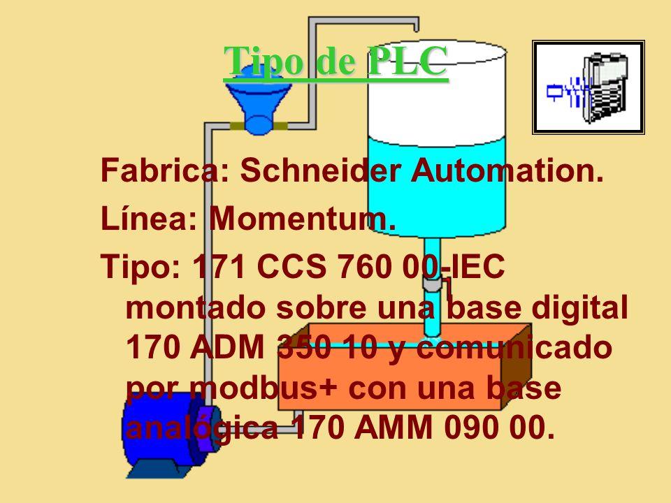 Tipo de PLC Fabrica: Schneider Automation. Línea: Momentum. Tipo: 171 CCS 760 00-IEC montado sobre una base digital 170 ADM 350 10 y comunicado por mo