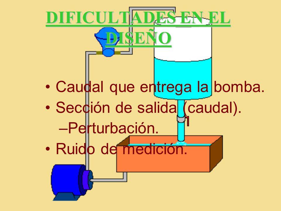DIFICULTADES EN EL DISEÑO Caudal que entrega la bomba. Sección de salida (caudal). –Perturbación. Ruido de medición.
