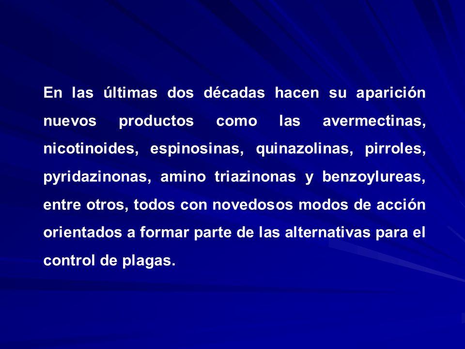 En las últimas dos décadas hacen su aparición nuevos productos como las avermectinas, nicotinoides, espinosinas, quinazolinas, pirroles, pyridazinonas