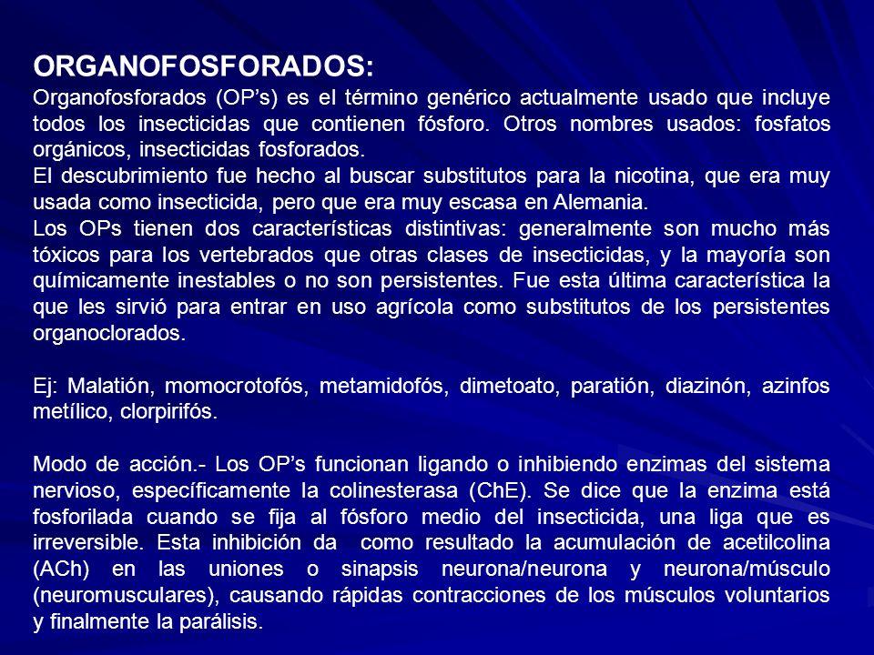 ORGANOFOSFORADOS: Organofosforados (OPs) es el término genérico actualmente usado que incluye todos los insecticidas que contienen fósforo. Otros nomb