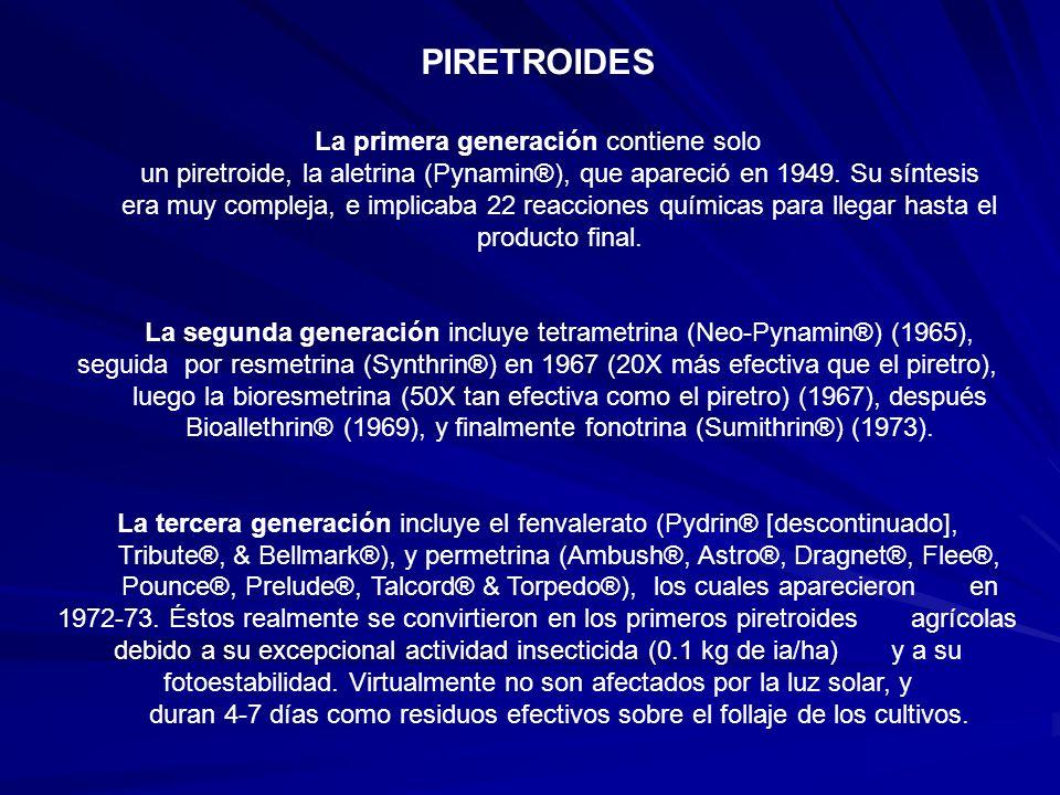 PIRETROIDES La primera generación contiene solo un piretroide, la aletrina (Pynamin®), que apareció en 1949. Su síntesis era muy compleja, e implicaba