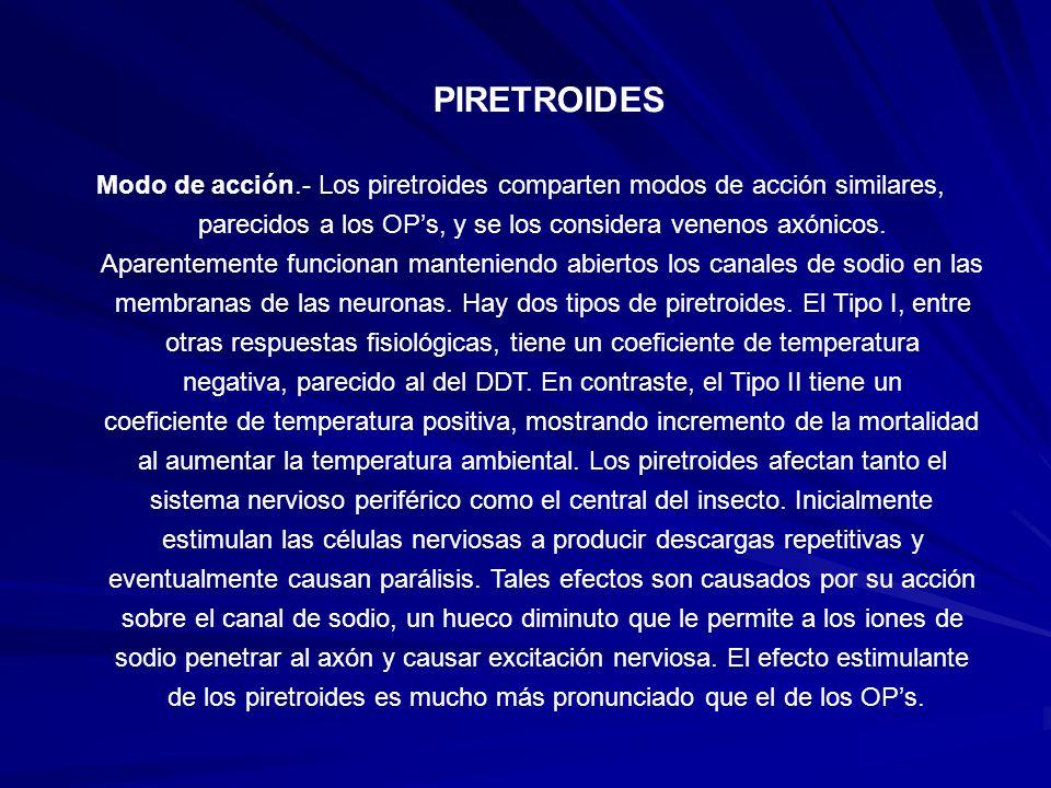 PIRETROIDES Modo de acción.- Los piretroides comparten modos de acción similares, parecidos a los OPs, y se los considera venenos axónicos. Aparenteme