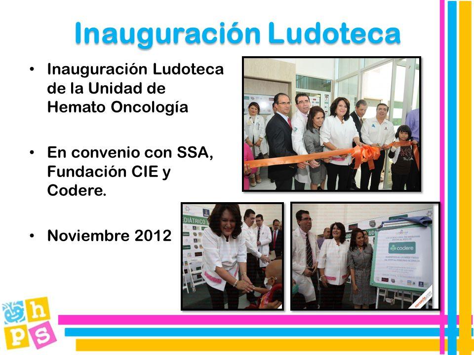 Inauguración Ludoteca Inauguración Ludoteca de la Unidad de Hemato Oncología En convenio con SSA, Fundación CIE y Codere.