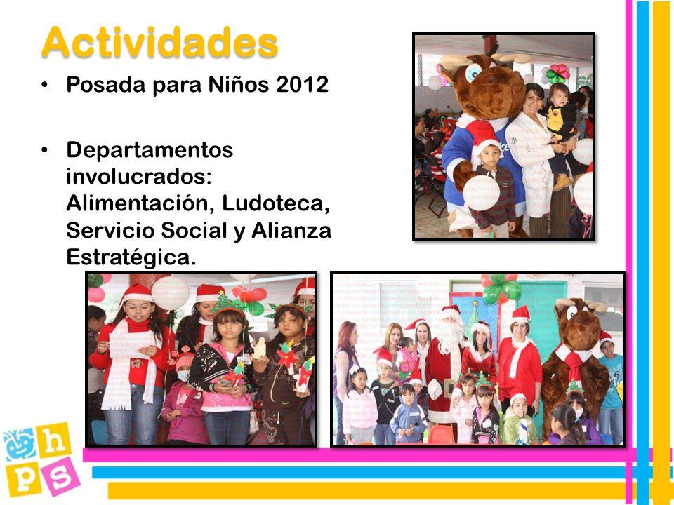 Posada para Niños 2012 Departamentos involucrados: Alimentación, Ludoteca, Servicio Social y Alianza Estratégica.