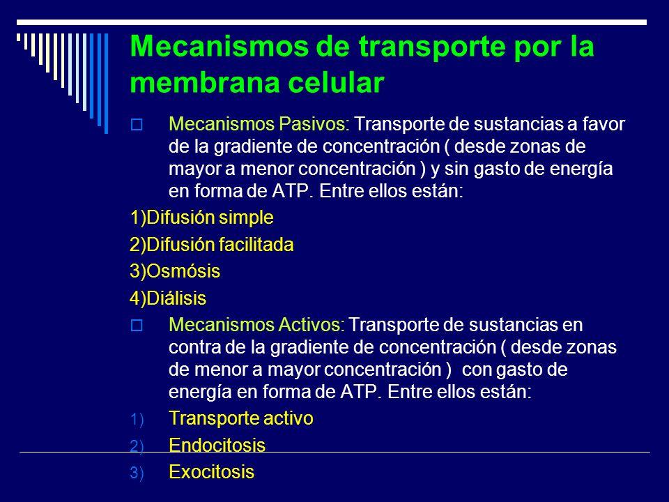 Mecanismos de transporte por la membrana celular Mecanismos Pasivos: Transporte de sustancias a favor de la gradiente de concentración ( desde zonas d