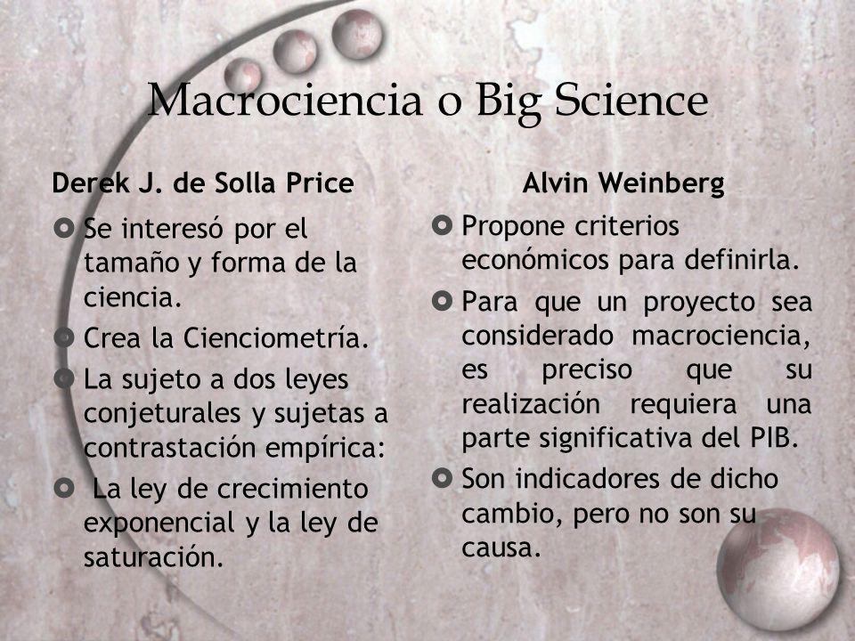 Macrociencia o Big Science Derek J. de Solla Price Se interesó por el tamaño y forma de la ciencia. Crea la Cienciometría. La sujeto a dos leyes conje