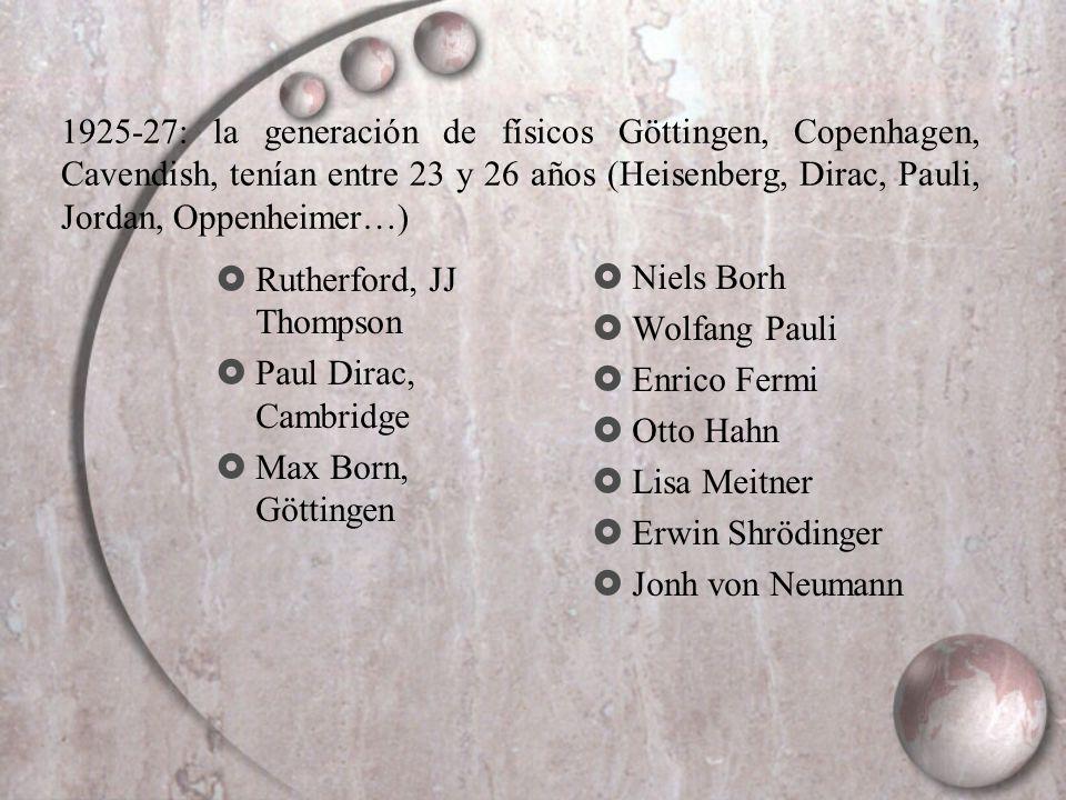 Rutherford, JJ Thompson Paul Dirac, Cambridge Max Born, Göttingen Niels Borh Wolfang Pauli Enrico Fermi Otto Hahn Lisa Meitner Erwin Shrödinger Jonh v