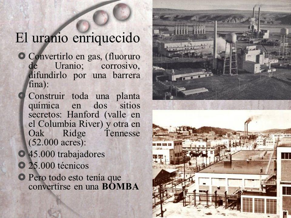 El uranio enriquecido Convertirlo en gas, (fluoruro de Uranio; corrosivo, difundirlo por una barrera fina): Construir toda una planta química en dos s